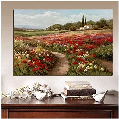SHYJBH Dipinti su Tela Claude Monet Pioppo Campi di Papaveri Paesaggio impressionista Pittura a Olio per Soggiorno Decorazione di Arte della parete50x70cm Senza Cornice