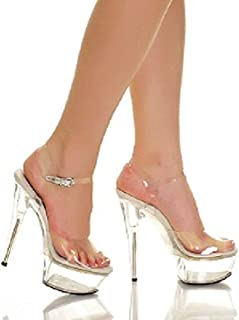 e1a999bca9a The Highest Heel Women s Amber 821 Clear Strap Sandals with Solid Platform