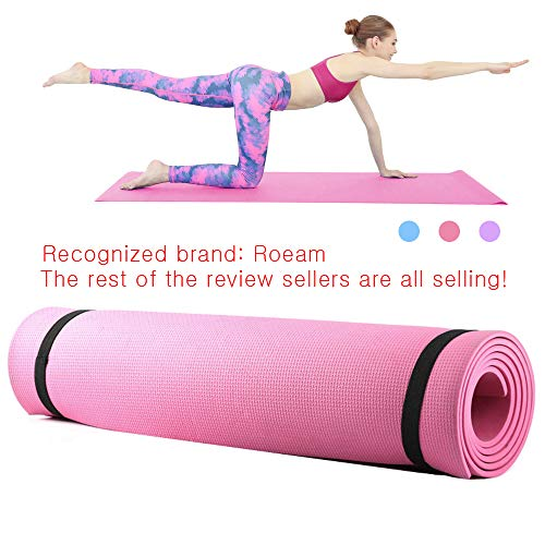 Roeam Yoga Mats Tapis Yoga Pilates Mat Workout Pats 6mm Thick EVA Foam Yoga Mat Non Slip Yoga Pilates Exercise Fitness Mat 68X24 Inch Gym Mats for Home Workout Waterproof and Moisture
