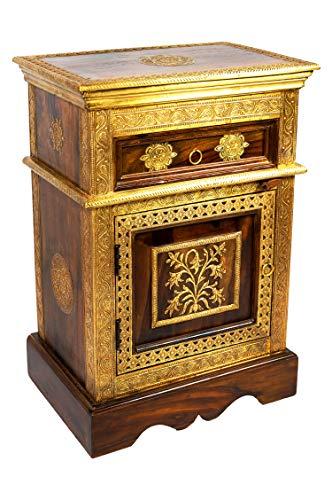 Orientalischer Holz Nachttisch Gowri Dunkel Holz Messing 65cm Hoch | Orient Vintage Nachtkommode orientalisch...