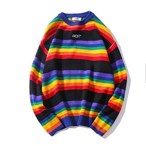 레트로 남성 스웨터 라운드 목 스웨터 레인보우 스트라이프 커플 스웨터