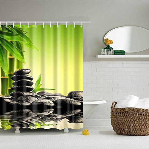 gexingshangdian Natuurlijke Bamboe Steen Print Mildewproof Douche Gordijn 3D Polyester Stof/Weefsel Waterdichte Bad Gordijn Home Decor
