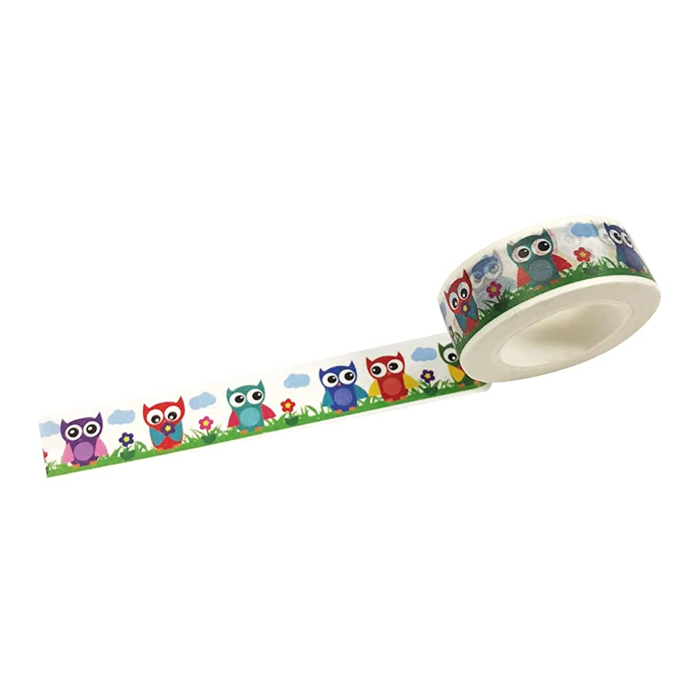 Wrapables A71295c Colorful Masking Tape, Cutie Owls Washi,