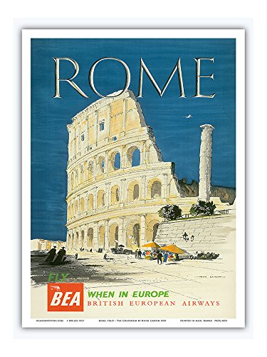 Rome, Italy - The Colosseum, Flavian Amphitheatre - BEA (British European Airways) - Vintage Airline Travel Poster by Hugh Casson 1955 - Master Art Print - 9in x 12in