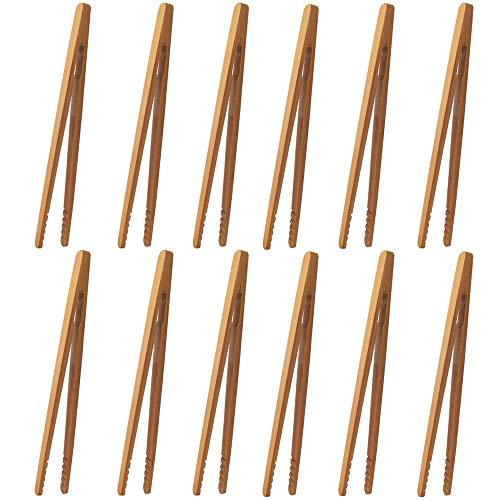 Pinzas de bambú,12 piezas Pinzas de cocina Pinzas para tostadas Cocina pinzas bambú Pinzas para tocino,para Cocina,Pan,Té de Frutas y Pepinillos