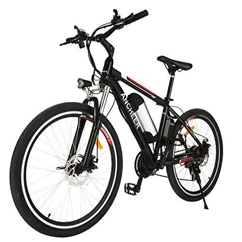 ANCHEER Electric Mountain Bike, E-bike Citybike Commuter Bike, 36V Removable Lithium Battery 250 W Motor, Shimano 21 Speed Gear (Classic_Black)