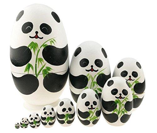 可愛いパンダ 卵の形 マトリョーシカ人形 マトリョーシカ 手業 手塗り 木製品 10個組 誕生日プレゼント 贈り物 子供のおもちゃ 飾り物 置物 期間限定