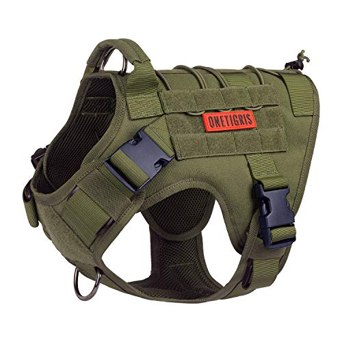Tactical Dog Harness,No-Pull Dog Vest with Leash Clips,Dog Harness Adjustable for Hiking Training Outdoor Dogs(Ranger Green, Medium)