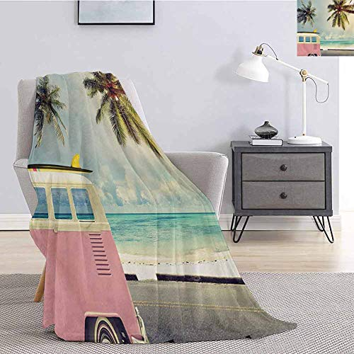 Luoiaax Surf Luxury Special Grade Blanket Minivan on The Beach Retro Inspired Vacation Clouds in Summer Sky Honeymoon Destination Multi-Purpose use for Sofas etc. W57 x L74 Inch Multi