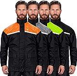 Viking Cycle Reflective Waterproof Motorcycle Rain 2 Piece Gear Suit for Men (Orange, Medium)