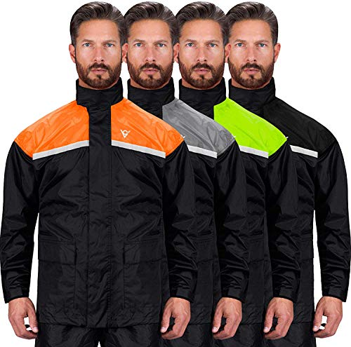 Viking Cycle Motorcycle Rain Gear - Two Piece Motorcycle Rain Suit (Orange, Small)