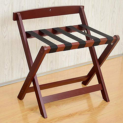 Suitcase Stand Solid Wood Luggage Stool Foldable Bedroom Bedside Clothes Storage Rack Hotel Rack Furniture-Wine Red 60 * 50 * 65Cm