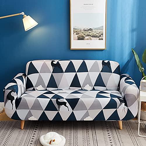 WXQY Funda de sofá Flexible de patrón Cruzado Sala de Estar Esquina en Forma de L Funda de sofá Todo Incluido Funda de sofá A4 3 plazas