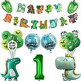 Lilwemen Dinosaur Party Supplies – Striscione di buon compleanno, 81,3 cm, palloncini a tema dinosauro e foglie di palma, set di decorazioni per bambini o ragazze, festa di compleanno (1)