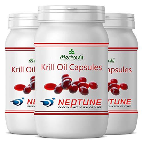 MoriVeda® - Aceite de Krill cápsulas 270 o 90, 100% puro NEPTUNE aceite de krill premium - Omega 3,6,9 astaxantina, fosfolípidos, colina, vitamina E (3x90 Cápsulas)