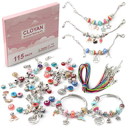 115 Charms Bracelet DIY Making Kit Including Beads Jewelry and Charms Beads Pendants Bracelet Jewelry Making Kit For Teens Girls Ages 7-12 Gift