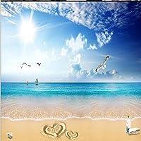 Ljjlm カスタマイズされた大規模な壁画青い空と白の愛美しいビーチテレビの背景壁紙Papelde Parede-200X150Cm