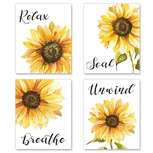 Sunflower Decor Wall Art Posters - Sunflower Bathroom Decor Relax Soak Unwind Breathe Painting Art - Sunflower Bathroom Decor - Great Gift for Bathroom Decor (Set of 4, 8 x10 in, Unframed)