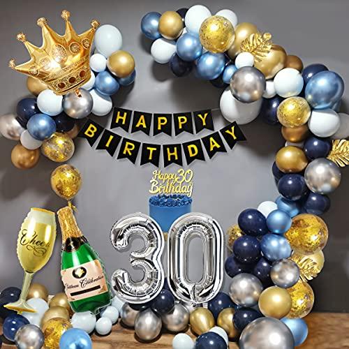 30 Años Cumpleaños Decoraciones Hombres, Decoraciones Fiesta Oro Azul con 30 Globos Papel Aluminio, Pancarta Feliz Cumpleaños, Globos Cazul Marino Dorado Plateado para Cumpleaños 30 Años Hombres