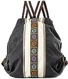Women Canvas Backpacks Daypack Casual Shoulder Bag, School Bag Laptop Backpack (Grey Black)