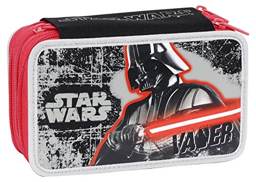Giochi Preziosi - Star Wars Astuccio Triplo con Colori, Pennarelli ed Accessori Scuola
