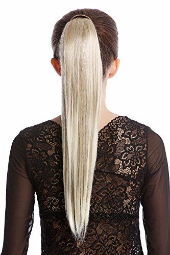 WIG ME UP - Srosy-24T613 Extension natte queue de cheval nouveau système peigne et serre-tête élastique blond cendré-blond platine lisse 55 cm