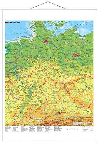 Deutschland physisch - Wandkarte mit Metallbeleistung