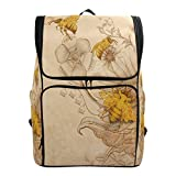 Naanle Stylish Honey Bees and Wildflowers Retro Style Casual Daypack College Students Multipurpose Backpack Large Travel Hiking Bags Computer Bag for Men Women