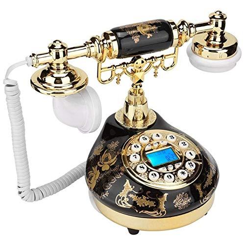 ZARTPMO Teléfono Fijo Fijo Teléfono Retro Antiguo Teléfono Fijo De Escritorio Teléfono Residencial Cerámica Patrón De Flor De Oro Negro Teléfono Vintage para Oficina En Casa Hotel