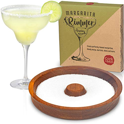 Cork & Mill Bar Glass Rimmer, Margarita Salt Dish Made from Acacia Wood, Rim Cocktails with Salt or Sugar, For Glasses up to 5.5' Wide