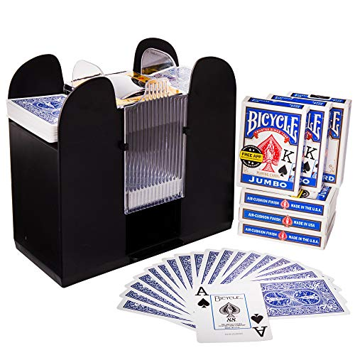 Brybelly 6-Deck Shuffler and 6 Jumbo Index Bicycle Decks - Battery-Operated Electric Shuffle Machine with Cards of Your Choice - Home & Casino Tournaments, Classic Poker, & Trading Card Games (Blue)
