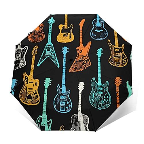 Paraguas Plegable Automático Impermeable Guitarra Acústica Eléctrica Rock, Paraguas De Viaje Compacto...