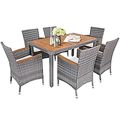 Tangkula 7 Pieces Outdoor Dining Furniture Set, Patio Rattan Conversation Set with Spacious Acacia Wood Table, 6 Chairs with Widened Armrests, Non-slip Foot Pads, Suitable for Backyard Poolside (Grey)