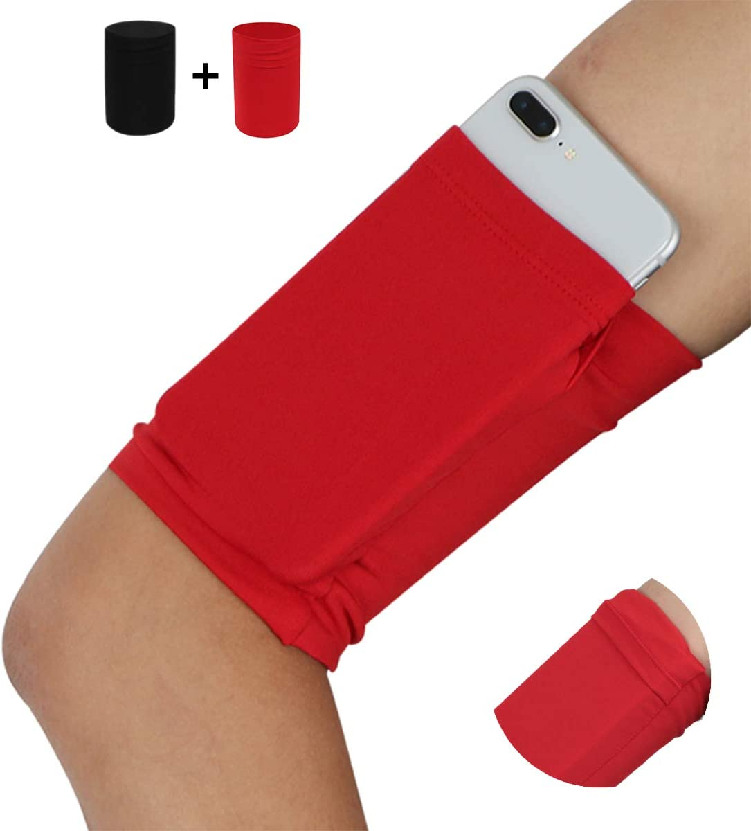 Small Cell Phone Armband for Exercise Fitness Training Skating Workouts Working Out Running Walking Yoga Jogging Cellphone Armband Sleeve Pouch Pocket for iPhone 6 6S 7 8 X XR XS 11 12 - Red+Black