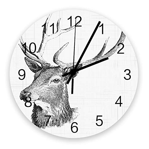 Elk Decor Wall Clock Vintage Round Silent Non Ticking Battery Operated Accurate Arabic Numerals Design Home Decorative for Kitchen Living Room Bedroom Office Black White Reindeer Head Art Design