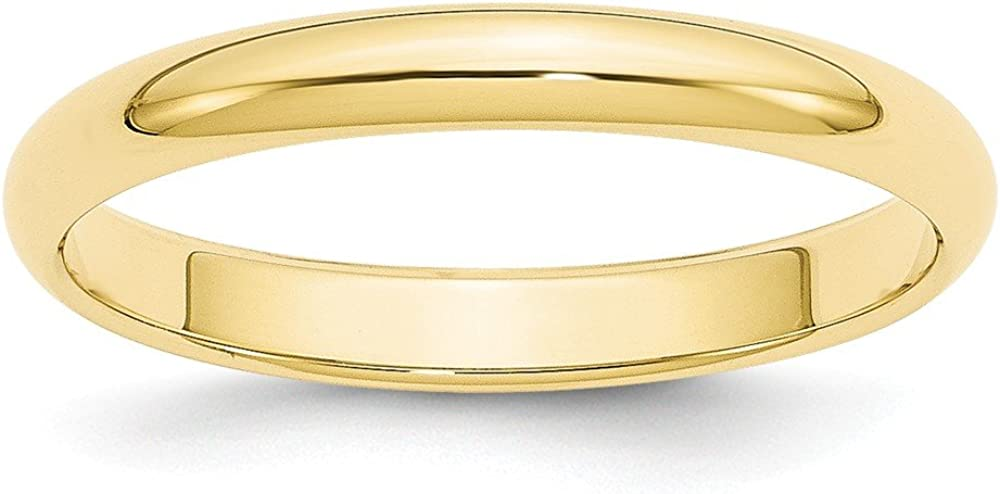 10k Yellow Gold 3mm Half Round Wedding Ring Band Size 10 Classic Fine Jewelry For Women Gifts For Her