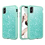 Women Case for iPhone Xs Max Case, Solomo Luxury Bling Glitter Heavy Duty Hybrid Sturdy Armor Defender High Impact Shockproof Protective Cover Bling Case for iPhone Xs Max 6.5 inch (Teal)