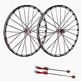 NS Exterior Fibra De Carbono Rueda De Bicicleta De Montaña Set 26/27,5/29 Pulgadas De Liberación Rápida del Cubo del Eje 120 Anillo Entrenamiento (Color : Red, Size : 27.5inch)