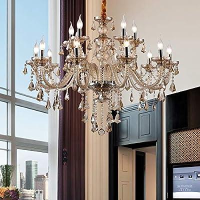 "Ridgeyard Cognac 15 Lights K9 Crystal Chandelier Luxurious Ceiling Lights Pendant Lamp with E12 Bulbs for Dining Room, Living Room, Bedroom, Hallway W37.4"" × H29.53"" -15 Lights Cognac Color"