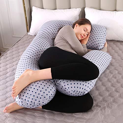 Almohada de Embarazo, Almohada Embarazada Dormir en Forma de U, Multifuncional Embarazo Almohada de Cuerpo Completo para Soporte de Vientre/Caderas/Piernas/Espalda, Extraíble Lavable