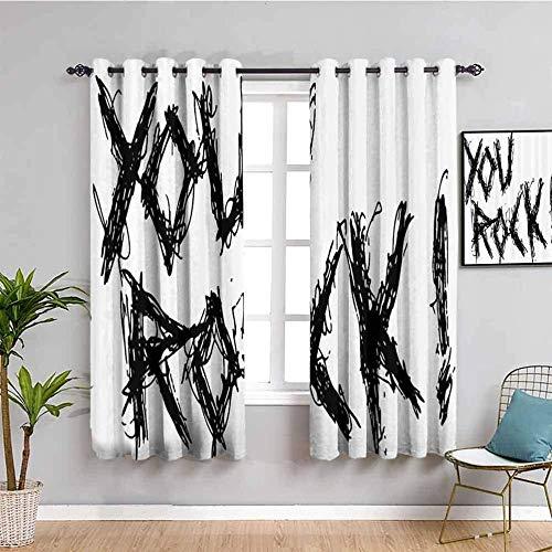 ZLYYH outdoor vorhang sonnenschutz Schwarzweiss Graffiti Kunst Buchstaben BxL:168x183cm(84x183cm x2 Panel) Gardinen Blickdichter - 2er Set Vorhang Verdunkelung mit Ösen für Schlafzimmer Wohnzimmer Bli