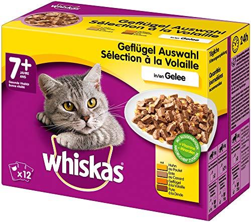 Whiskas 7 + Katzenfutter – Hochwertiges Nassfutter für gesundes Fell , Geflügel-Auswahl in Gelee, 4 x (12 x 100g)