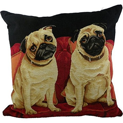 :Mars & More EVKSSTMP Kissen - 2 Mops Hunde im Sessel ca 45x45 cm Landhaus Zierkissen