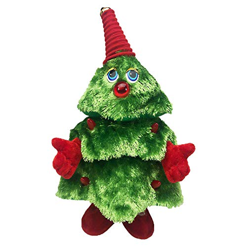 Updayday Albero di Natale Che Canta e Balla, Giocattoli di Peluche elettrici di Natale, Regalo di Bambola interattiva in Peluche Musicale a Batteria per l'ornamento della Festa di Natale