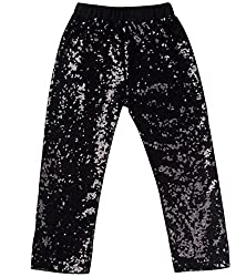 Black Sequin Leggings Tights Cotton Sparkle on The Front