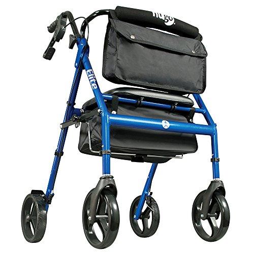 Hugo Mobility Elite Rollator Walker with Seat Backrest and Saddle Bag, Blue, 1 Count