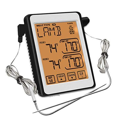 Termómetro de carne de lectura instantánea termómetro de sonda dual Barbacoa de alarma inteligente Termómetro