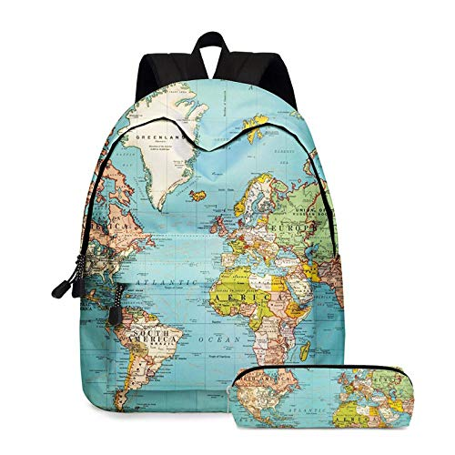 STKJ Student Backpack, Large Capacity European And American Map Pattern Bookbag And Pencil Case Two-Piece Set,Green