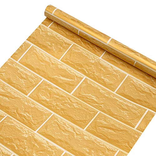 SimpleLife4U Yellow Brick Pattern Contact Paper Self-Adhesive Shelf Liner Removable Vinyl Wall Art 17.7inch by 9.8 Feet