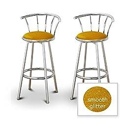 2 Glitter Gold Vinyl Specialty  Custom Chrome Barstools with Backrest Set
